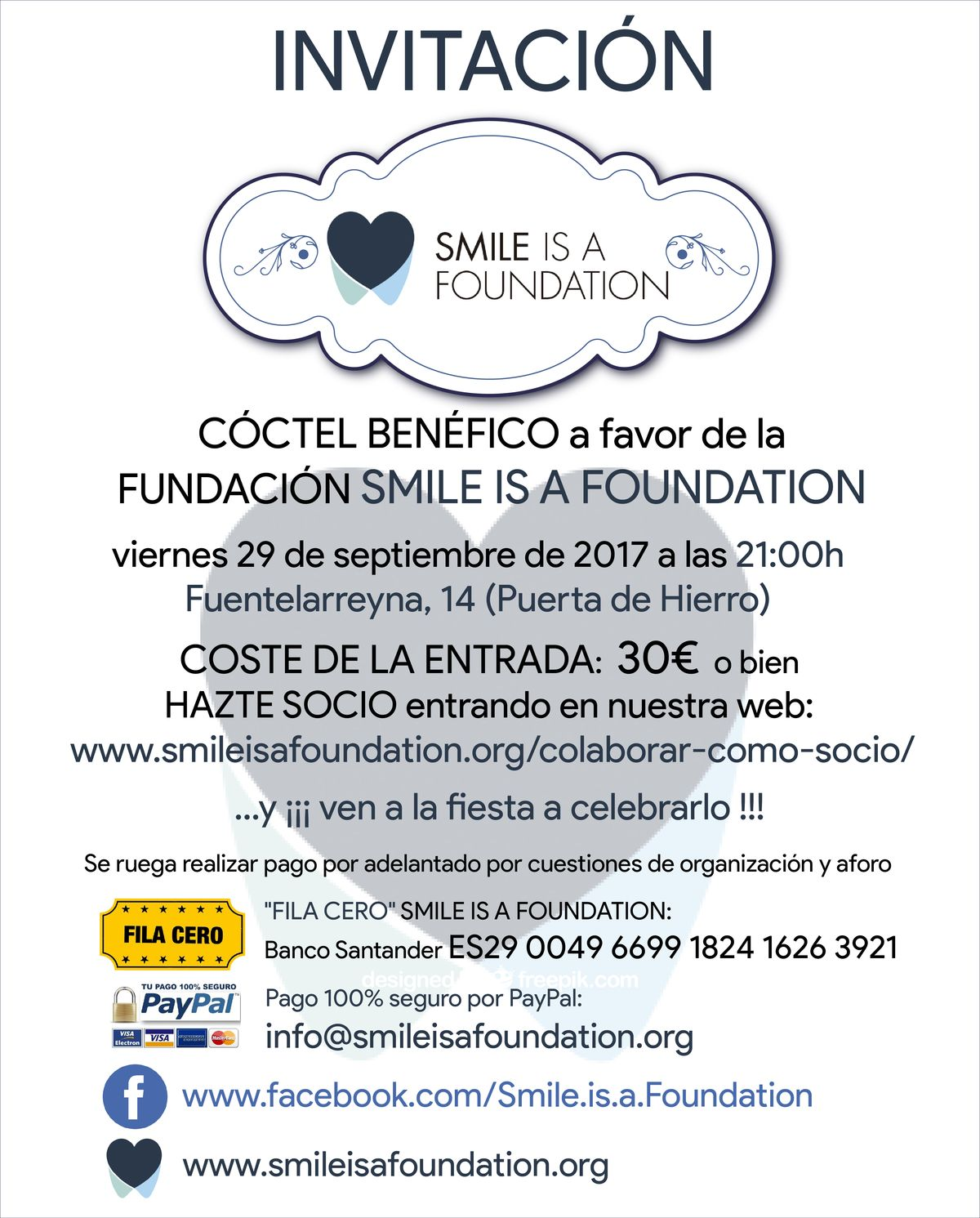 invitacion fiesta Smile is a Foundation 2017 Zimbabwe