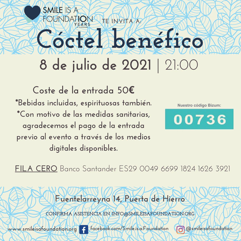 Save The Date 8 de julio de 2021 cóctel benéfico de Smile is a Foundation