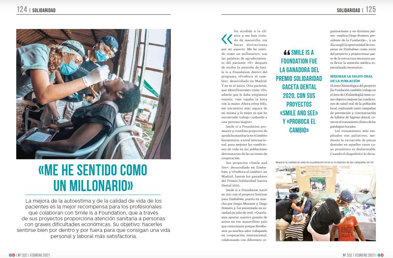 Artículo de la revista Gaceta Dental sobre Smile is a Foundation